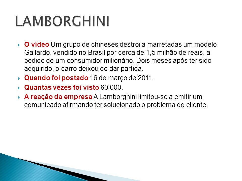 O vídeo Um grupo de chineses destrói a marretadas um modelo Gallardo, vendido no Brasil por cerca de 1,5 milhão de reais, a pedido de um consumidor milionário.