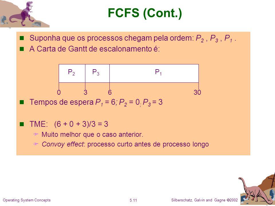 Silberschatz, Galvin and Gagne 2002 5.11 Operating System Concepts FCFS (Cont.) Suponha que os processos chegam pela ordem: P 2, P 3, P 1.