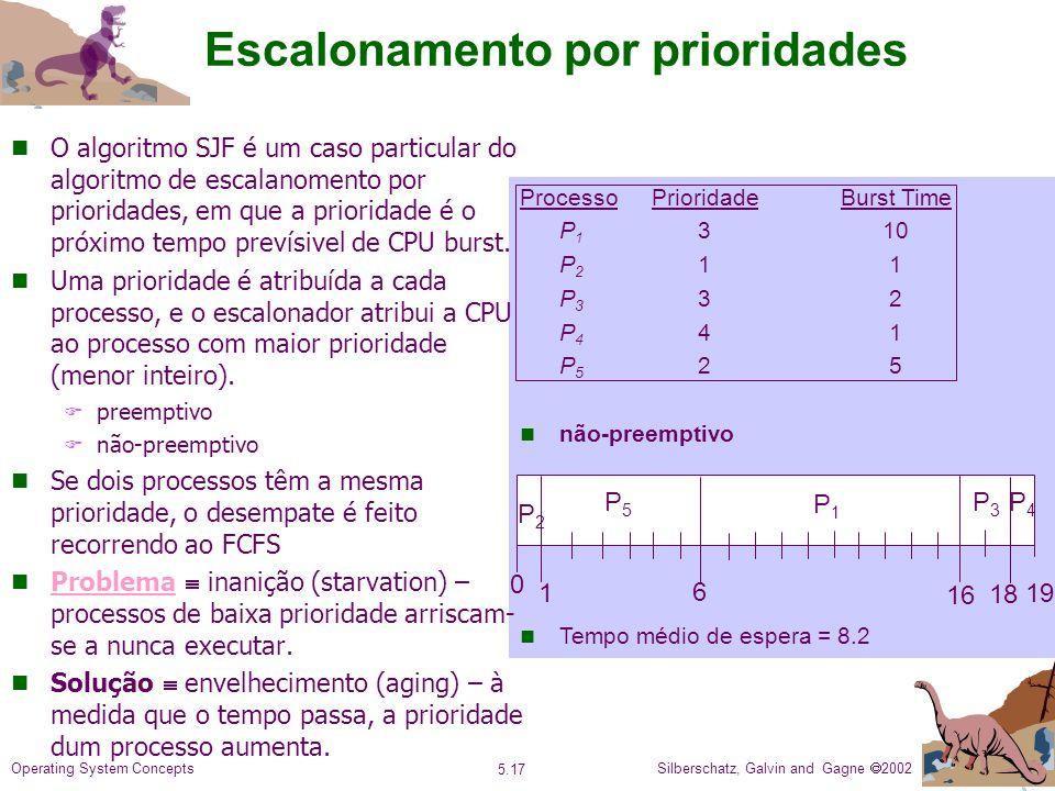 Silberschatz, Galvin and Gagne 2002 5.17 Operating System Concepts Escalonamento por prioridades ProcessoPrioridadeBurst Time P 1 310 P 2 11 P 3 32 P 4 41 P 5 25 não-preemptivo Tempo médio de espera = 8.2 P1P1 P3P3 P5P5 1 0 P4P4 6 P2P2 16 18 19 n O algoritmo SJF é um caso particular do algoritmo de escalanomento por prioridades, em que a prioridade é o próximo tempo prevísivel de CPU burst.