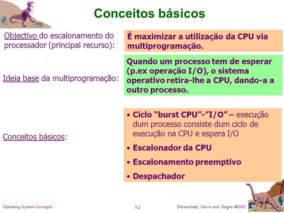 Silberschatz, Galvin and Gagne 2002 5.2 Operating System Concepts Conceitos básicos Objectivo do escalonamento do processador (principal recurso): Ideia base da multiprogramação: É maximizar a utilização da CPU via multiprogramação.