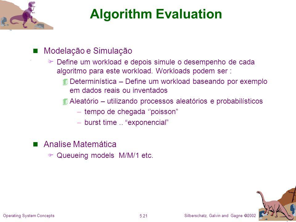 Silberschatz, Galvin and Gagne 2002 5.21 Operating System Concepts Algorithm Evaluation Modelação e Simulação Define um workload e depois simule o desempenho de cada algoritmo para este workload.