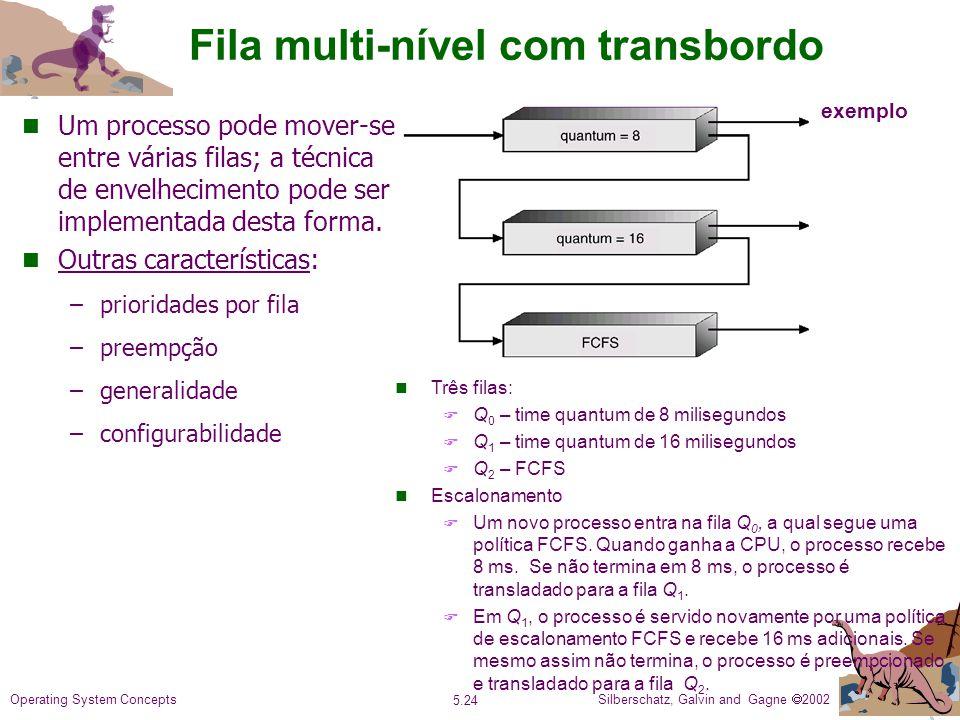 Silberschatz, Galvin and Gagne 2002 5.24 Operating System Concepts Fila multi-nível com transbordo n Um processo pode mover-se entre várias filas; a técnica de envelhecimento pode ser implementada desta forma.