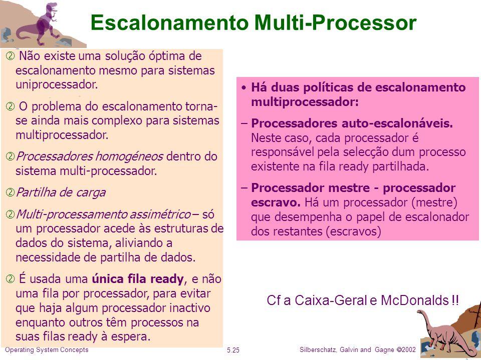 Silberschatz, Galvin and Gagne 2002 5.25 Operating System Concepts Escalonamento Multi-Processor ' Não existe uma solução óptima de escalonamento mesmo para sistemas uniprocessador.