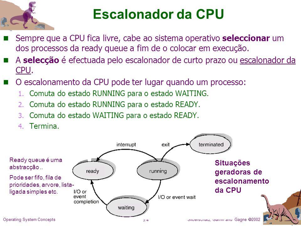Silberschatz, Galvin and Gagne 2002 5.4 Operating System Concepts Escalonador da CPU n Sempre que a CPU fica livre, cabe ao sistema operativo seleccionar um dos processos da ready queue a fim de o colocar em execução.