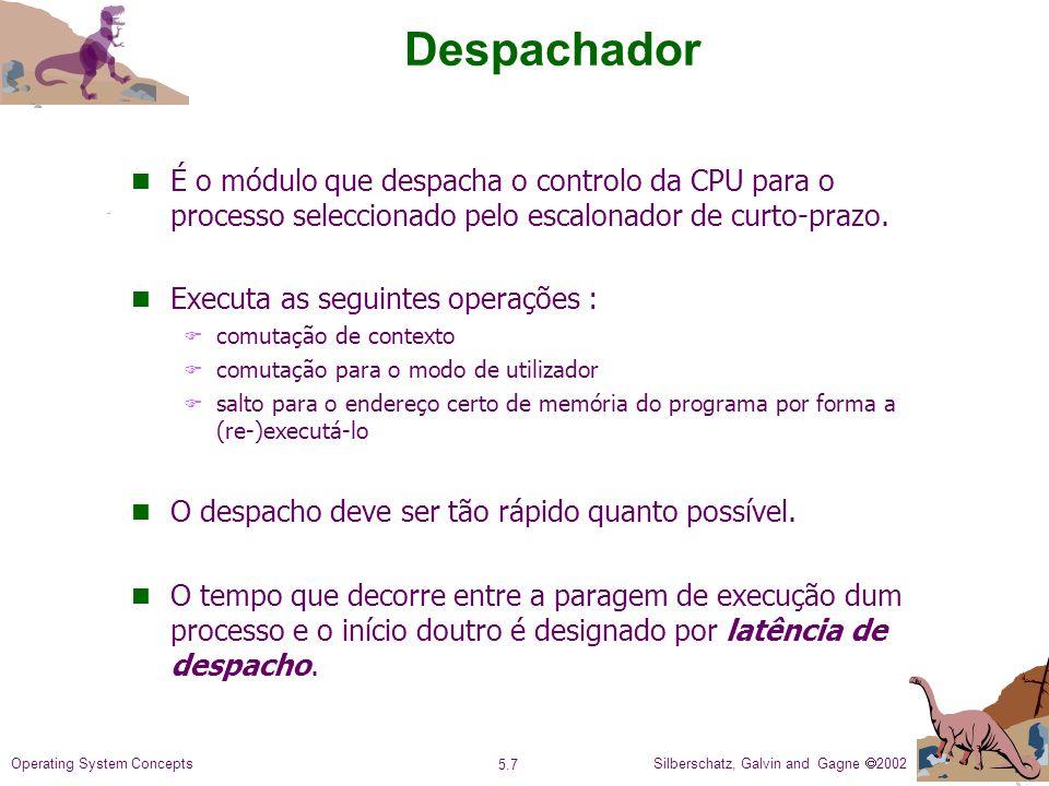 Silberschatz, Galvin and Gagne 2002 5.7 Operating System Concepts Despachador n É o módulo que despacha o controlo da CPU para o processo seleccionado pelo escalonador de curto-prazo.