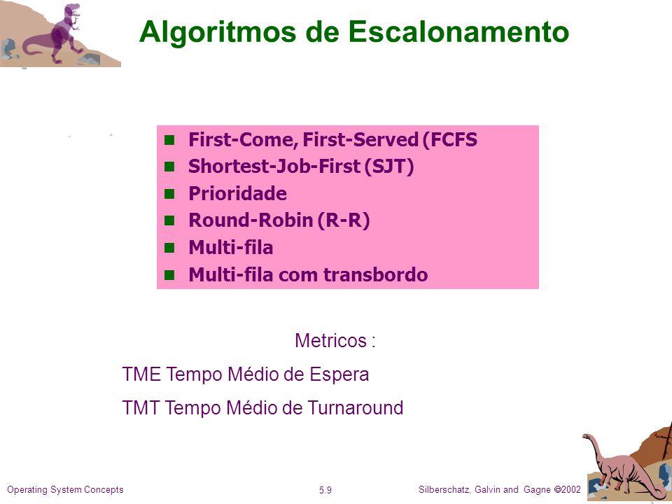 Silberschatz, Galvin and Gagne 2002 5.9 Operating System Concepts Algoritmos de Escalonamento First-Come, First-Served (FCFS Shortest-Job-First (SJT) Prioridade Round-Robin (R-R) n Multi-fila n Multi-fila com transbordo Metricos : TME Tempo Médio de Espera TMT Tempo Médio de Turnaround