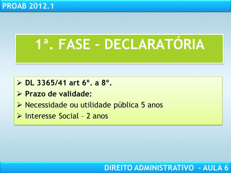 RESPONSABILIDADE CIVIL AULA 1 PROAB 2012.1 DIREITO ADMINISTRATIVO – AULA 6 DL 3365/41 art 6º.