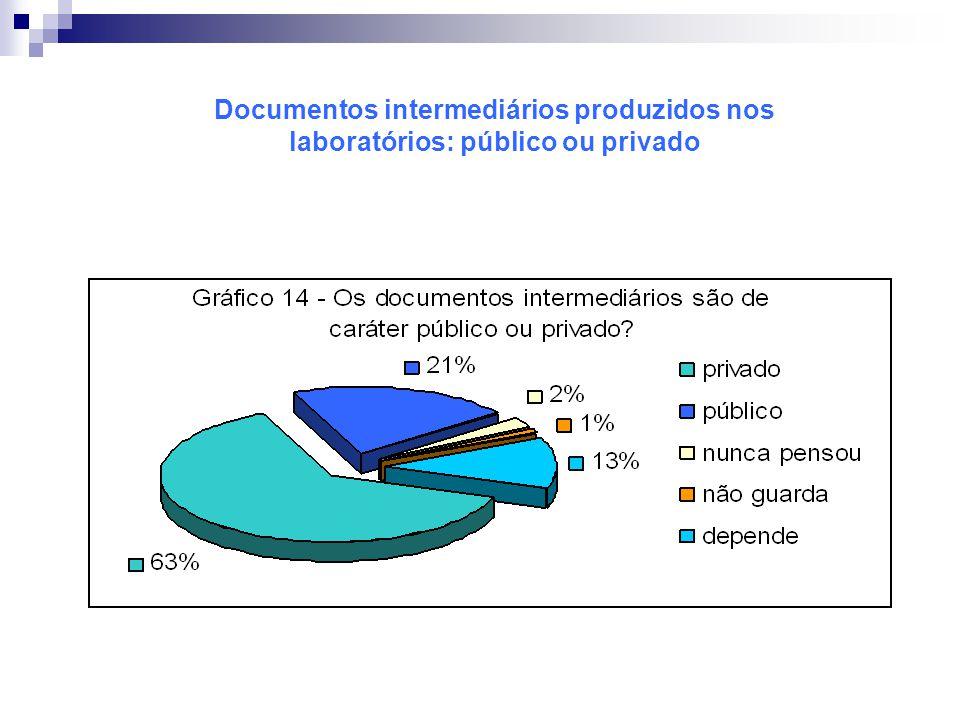 Documentos intermediários produzidos nos laboratórios: público ou privado