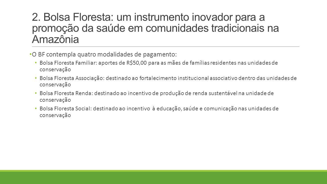 2. Bolsa Floresta: um instrumento inovador para a promoção da saúde em comunidades tradicionais na Amazônia O BF contempla quatro modalidades de pagam