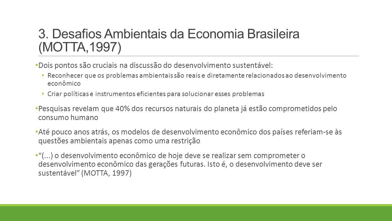 3. Desafios Ambientais da Economia Brasileira (MOTTA,1997) Dois pontos são cruciais na discussão do desenvolvimento sustentável: Reconhecer que os pro