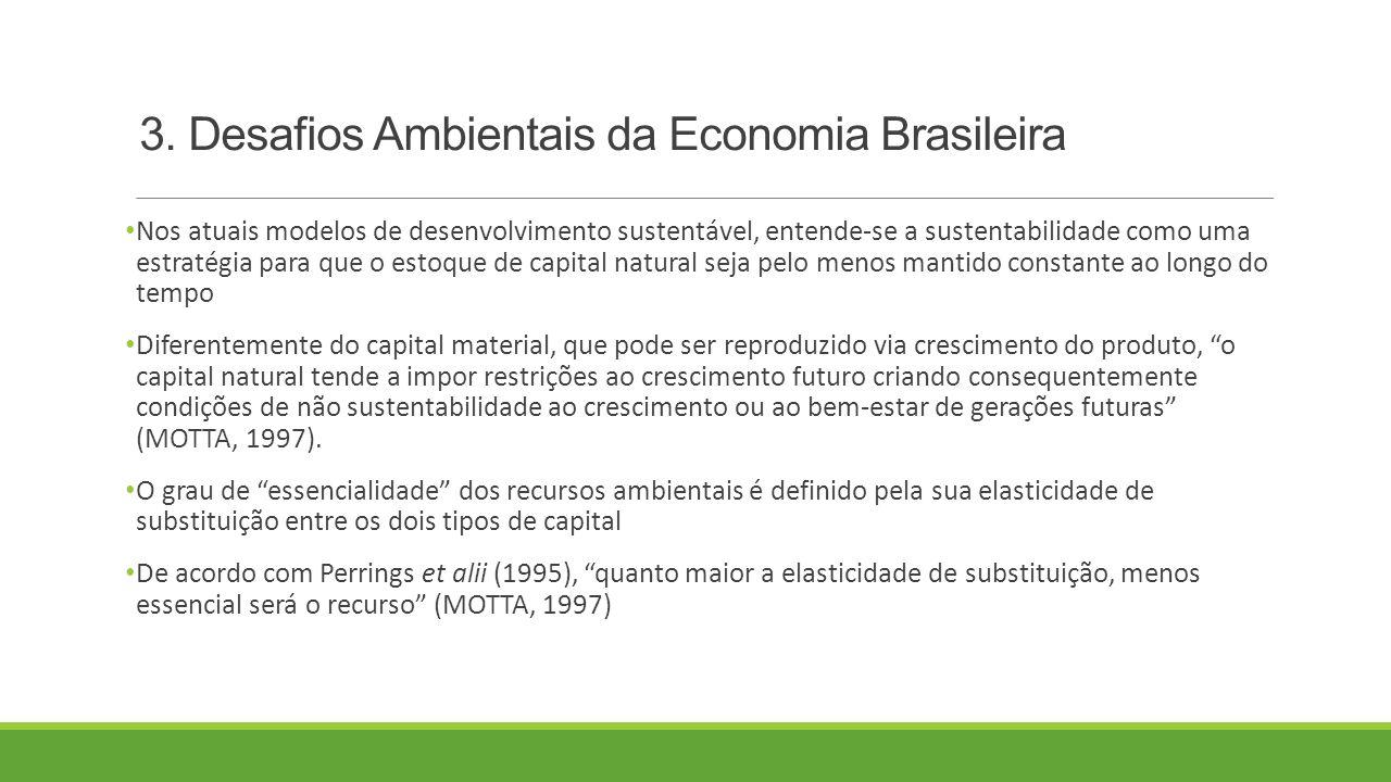 3. Desafios Ambientais da Economia Brasileira Nos atuais modelos de desenvolvimento sustentável, entende-se a sustentabilidade como uma estratégia par