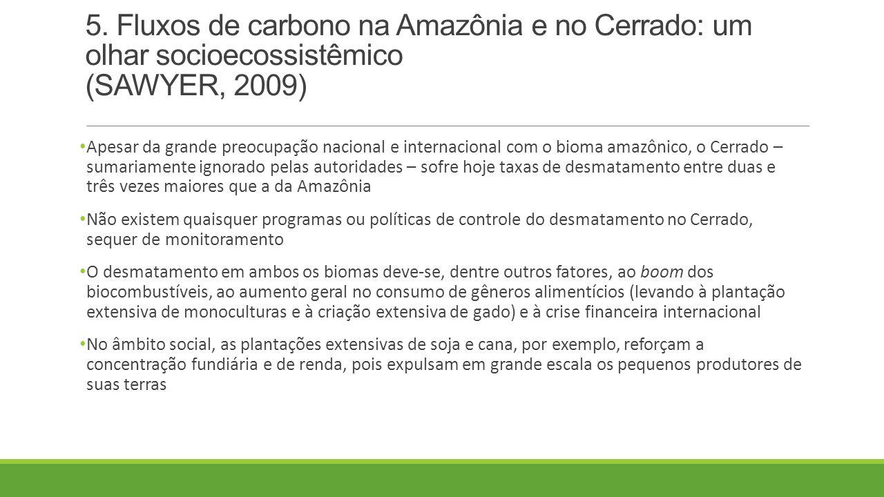 5. Fluxos de carbono na Amazônia e no Cerrado: um olhar socioecossistêmico (SAWYER, 2009) Apesar da grande preocupação nacional e internacional com o