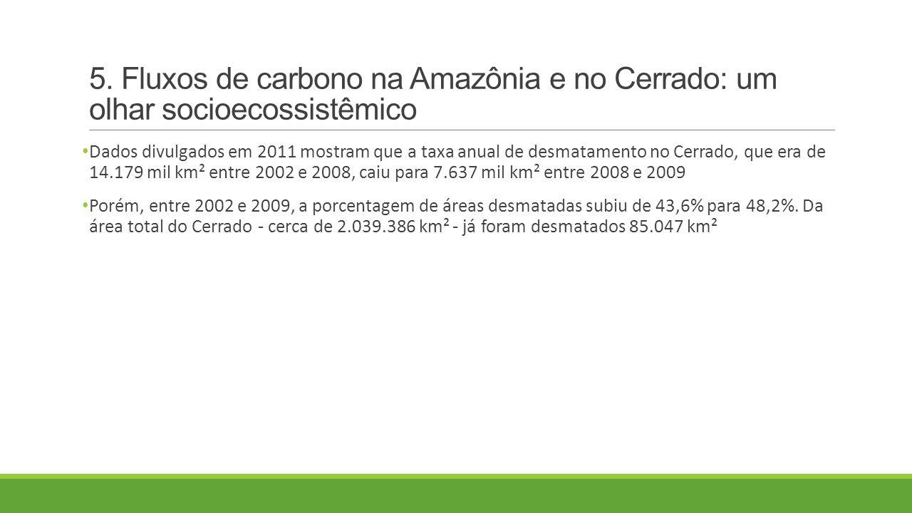 5. Fluxos de carbono na Amazônia e no Cerrado: um olhar socioecossistêmico Dados divulgados em 2011 mostram que a taxa anual de desmatamento no Cerrad