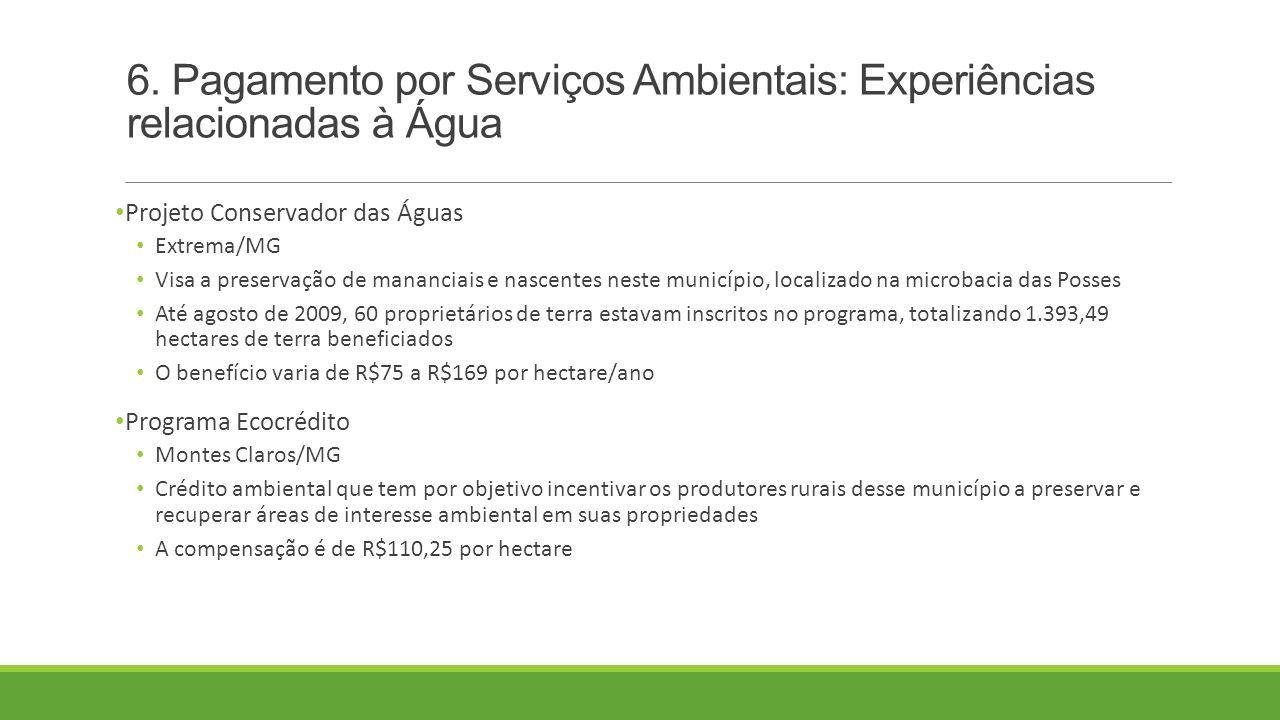 6. Pagamento por Serviços Ambientais: Experiências relacionadas à Água Projeto Conservador das Águas Extrema/MG Visa a preservação de mananciais e nas