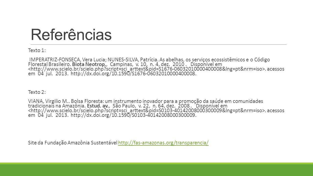 Referências Texto 1: IMPERATRIZ-FONSECA, Vera Lucia; NUNES-SILVA, Patrícia.