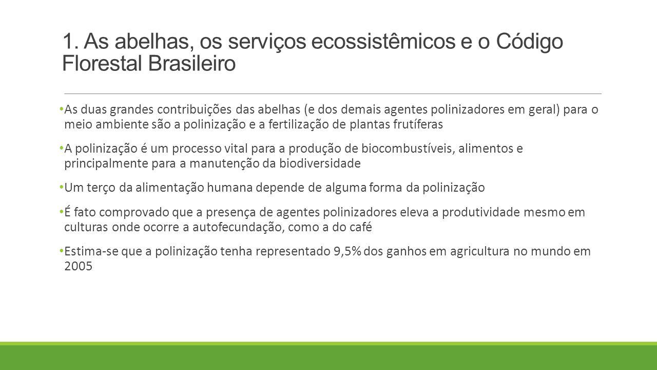 1. As abelhas, os serviços ecossistêmicos e o Código Florestal Brasileiro As duas grandes contribuições das abelhas (e dos demais agentes polinizadore