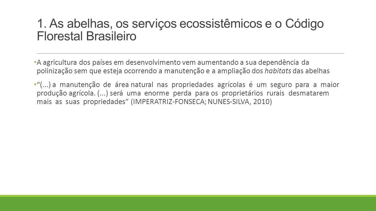 1. As abelhas, os serviços ecossistêmicos e o Código Florestal Brasileiro A agricultura dos países em desenvolvimento vem aumentando a sua dependência