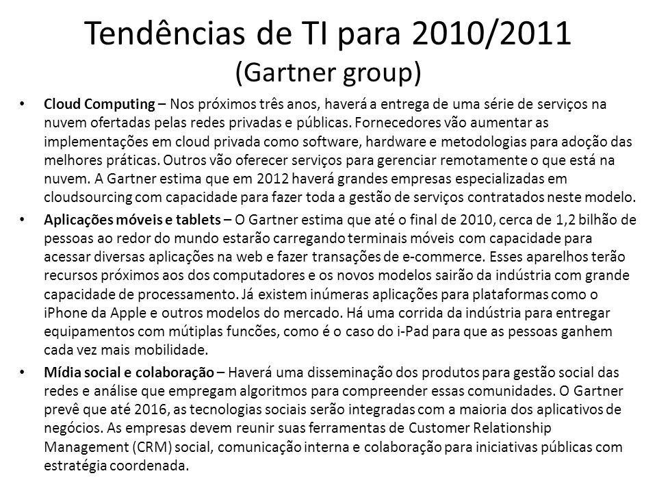 Tendências de TI para 2010/2011 (Gartner group) Cloud Computing – Nos próximos três anos, haverá a entrega de uma série de serviços na nuvem ofertadas pelas redes privadas e públicas.