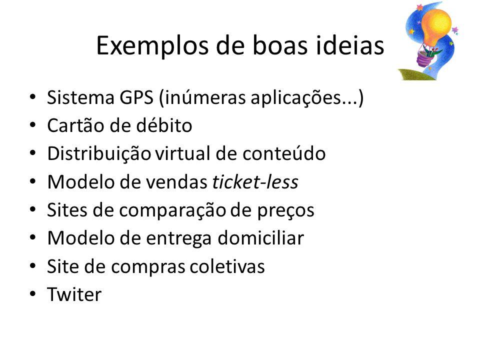 Exemplos de boas ideias Sistema GPS (inúmeras aplicações...) Cartão de débito Distribuição virtual de conteúdo Modelo de vendas ticket-less Sites de comparação de preços Modelo de entrega domiciliar Site de compras coletivas Twiter