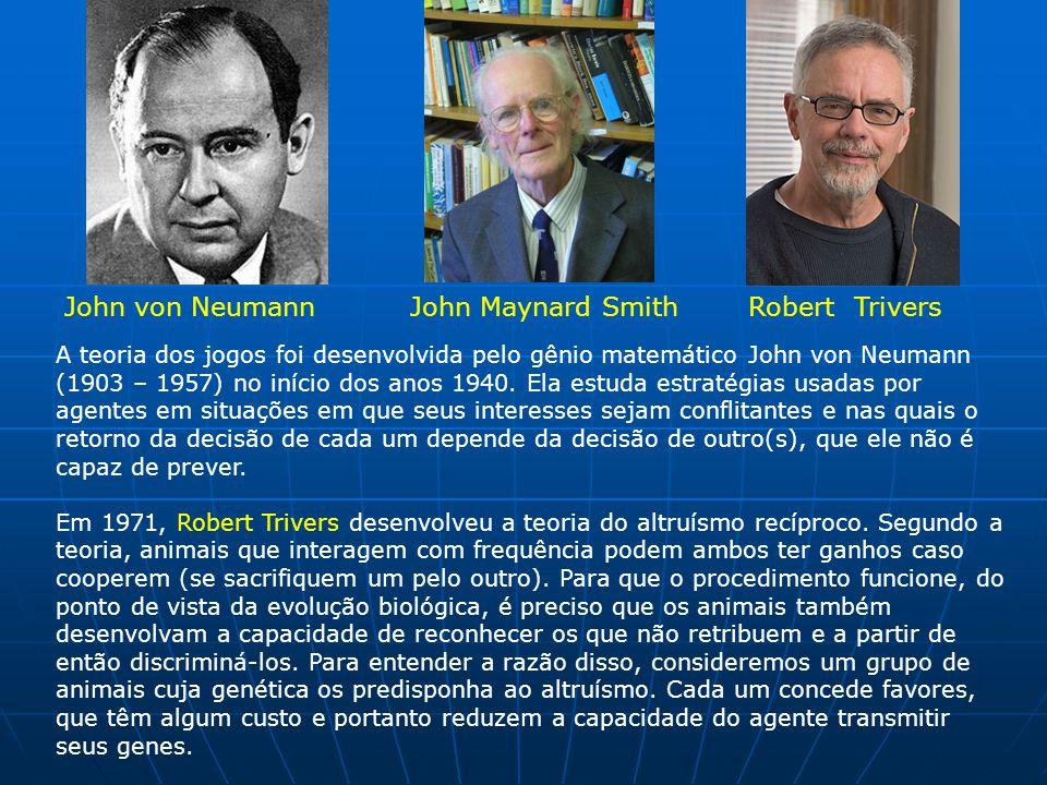 John von NeumannJohn Maynard SmithRobert Trivers A teoria dos jogos foi desenvolvida pelo gênio matemático John von Neumann (1903 – 1957) no início dos anos 1940.