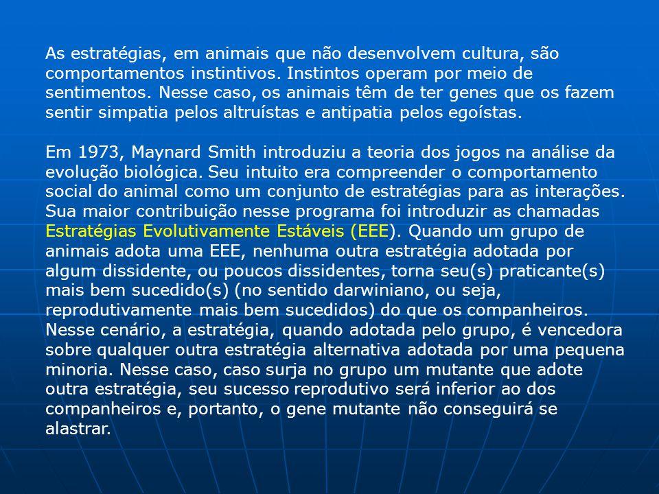 As estratégias, em animais que não desenvolvem cultura, são comportamentos instintivos.