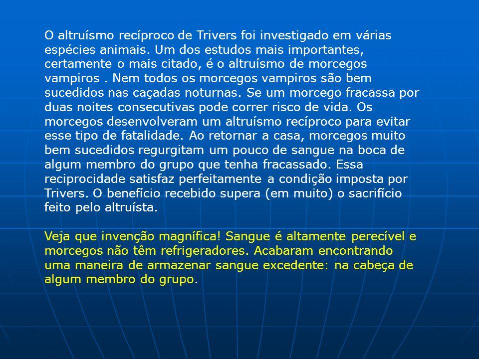 O altruísmo recíproco de Trivers foi investigado em várias espécies animais.