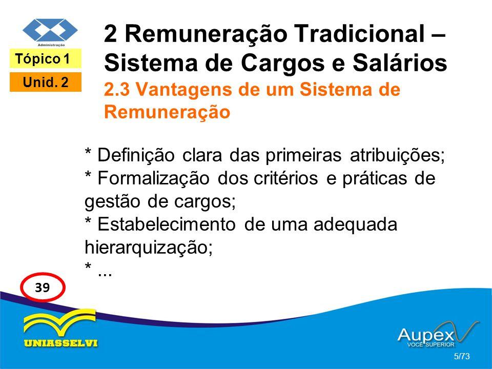 2 Remuneração Tradicional – Sistema de Cargos e Salários 2.3 Vantagens de um Sistema de Remuneração * Definição clara das primeiras atribuições; * For