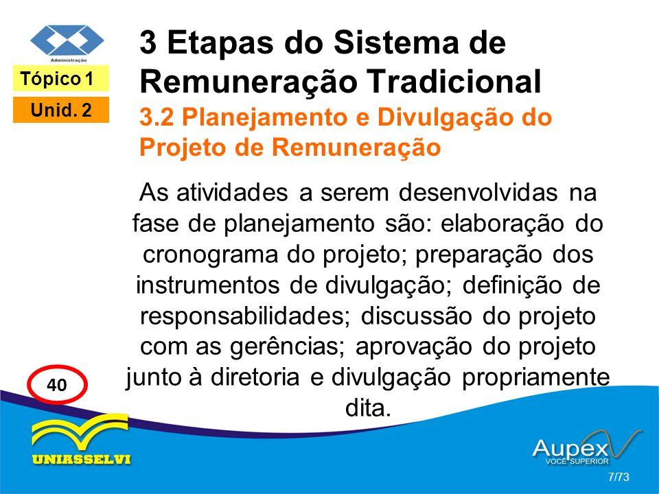3 Etapas do Sistema de Remuneração Tradicional 3.2 Planejamento e Divulgação do Projeto de Remuneração As atividades a serem desenvolvidas na fase de