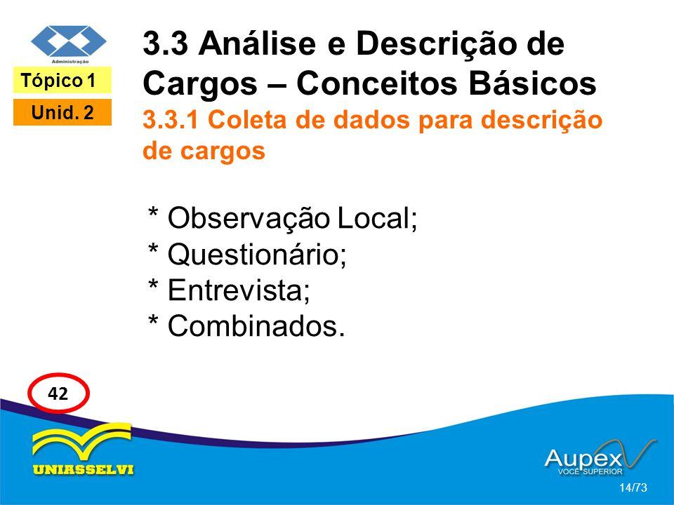 3.3 Análise e Descrição de Cargos – Conceitos Básicos 3.3.1 Coleta de dados para descrição de cargos * Observação Local; * Questionário; * Entrevista;