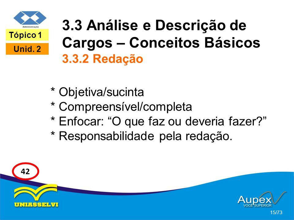 3.3 Análise e Descrição de Cargos – Conceitos Básicos 3.3.2 Redação * Objetiva/sucinta * Compreensível/completa * Enfocar: O que faz ou deveria fazer?