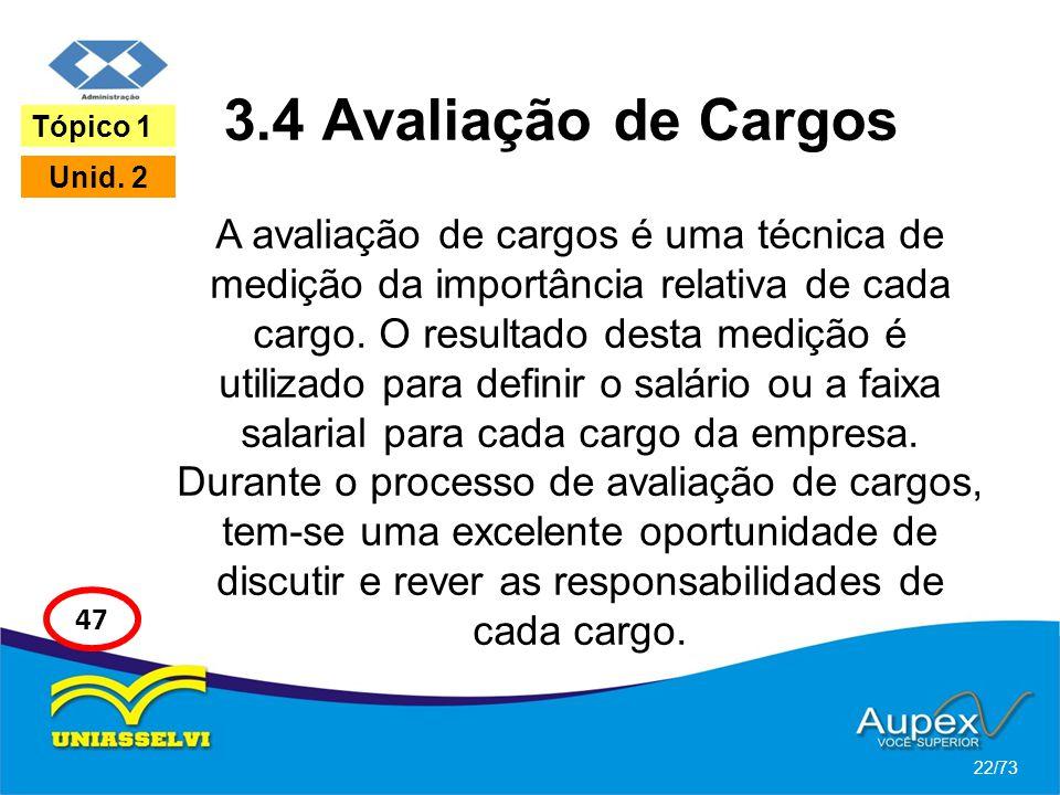 3.4 Avaliação de Cargos A avaliação de cargos é uma técnica de medição da importância relativa de cada cargo. O resultado desta medição é utilizado pa