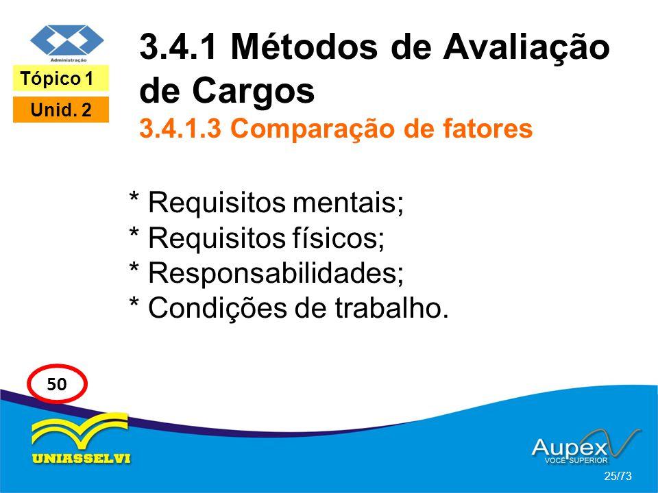 3.4.1 Métodos de Avaliação de Cargos 3.4.1.3 Comparação de fatores * Requisitos mentais; * Requisitos físicos; * Responsabilidades; * Condições de tra