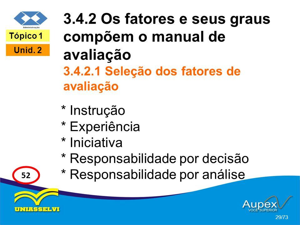 3.4.2 Os fatores e seus graus compõem o manual de avaliação 3.4.2.1 Seleção dos fatores de avaliação * Instrução * Experiência * Iniciativa * Responsa