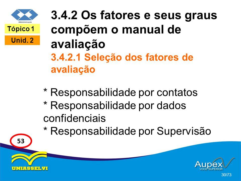 3.4.2 Os fatores e seus graus compõem o manual de avaliação 3.4.2.1 Seleção dos fatores de avaliação * Responsabilidade por contatos * Responsabilidad