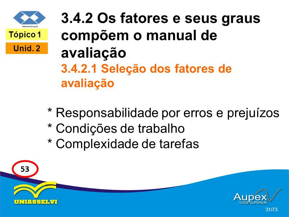 3.4.2 Os fatores e seus graus compõem o manual de avaliação 3.4.2.1 Seleção dos fatores de avaliação * Responsabilidade por erros e prejuízos * Condiç
