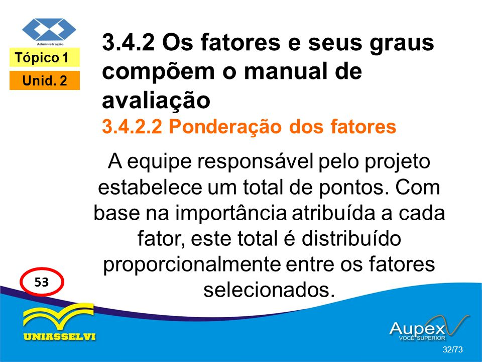 3.4.2 Os fatores e seus graus compõem o manual de avaliação 3.4.2.2 Ponderação dos fatores A equipe responsável pelo projeto estabelece um total de po