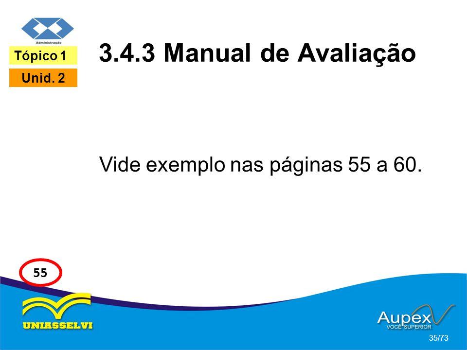 3.4.3 Manual de Avaliação Vide exemplo nas páginas 55 a 60. 35/73 Tópico 1 Unid. 2 55