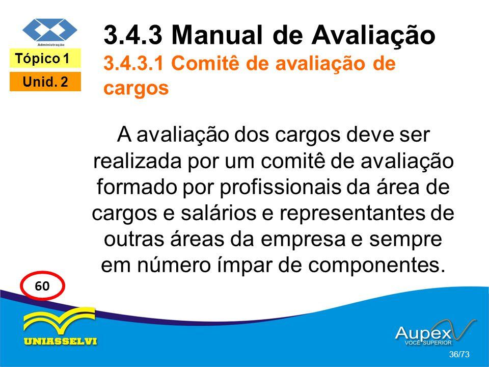 3.4.3 Manual de Avaliação 3.4.3.1 Comitê de avaliação de cargos A avaliação dos cargos deve ser realizada por um comitê de avaliação formado por profi