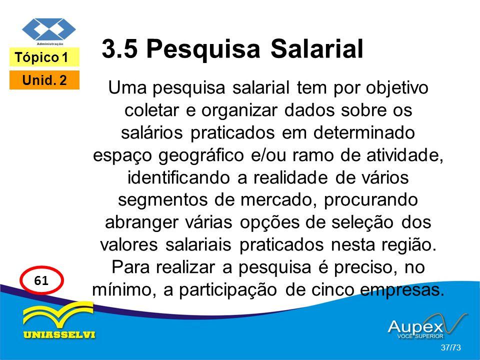 3.5 Pesquisa Salarial Uma pesquisa salarial tem por objetivo coletar e organizar dados sobre os salários praticados em determinado espaço geográfico e