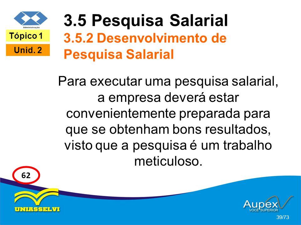 3.5 Pesquisa Salarial 3.5.2 Desenvolvimento de Pesquisa Salarial Para executar uma pesquisa salarial, a empresa deverá estar convenientemente preparad