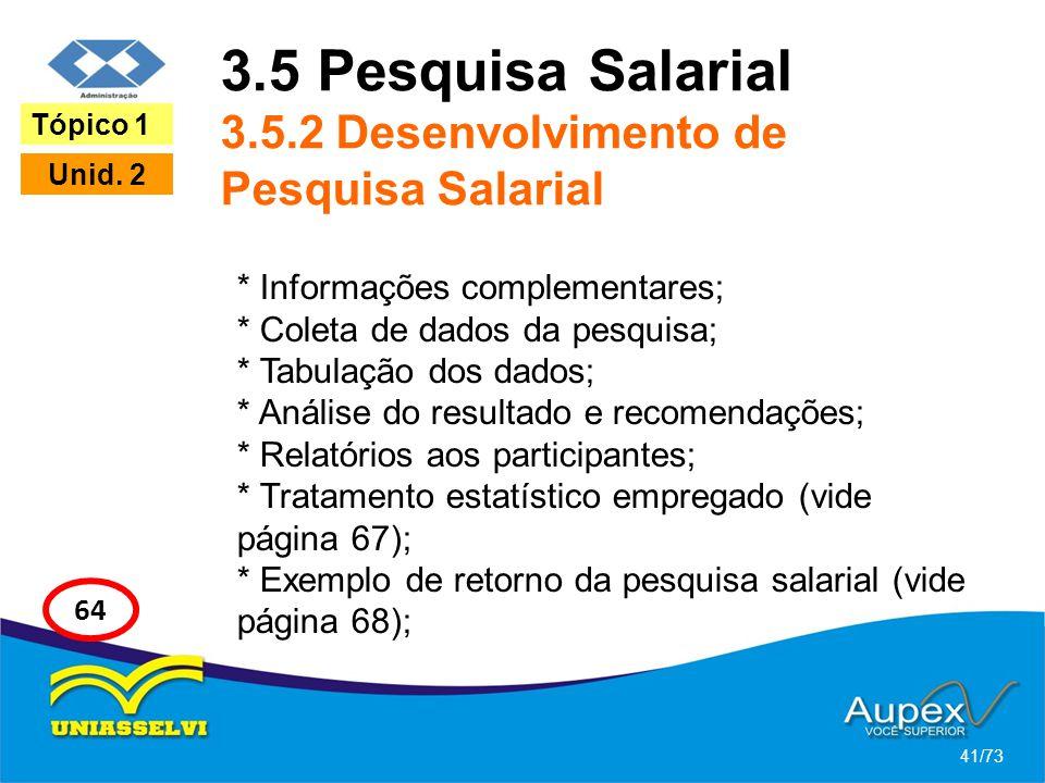 3.5 Pesquisa Salarial 3.5.2 Desenvolvimento de Pesquisa Salarial * Informações complementares; * Coleta de dados da pesquisa; * Tabulação dos dados; *