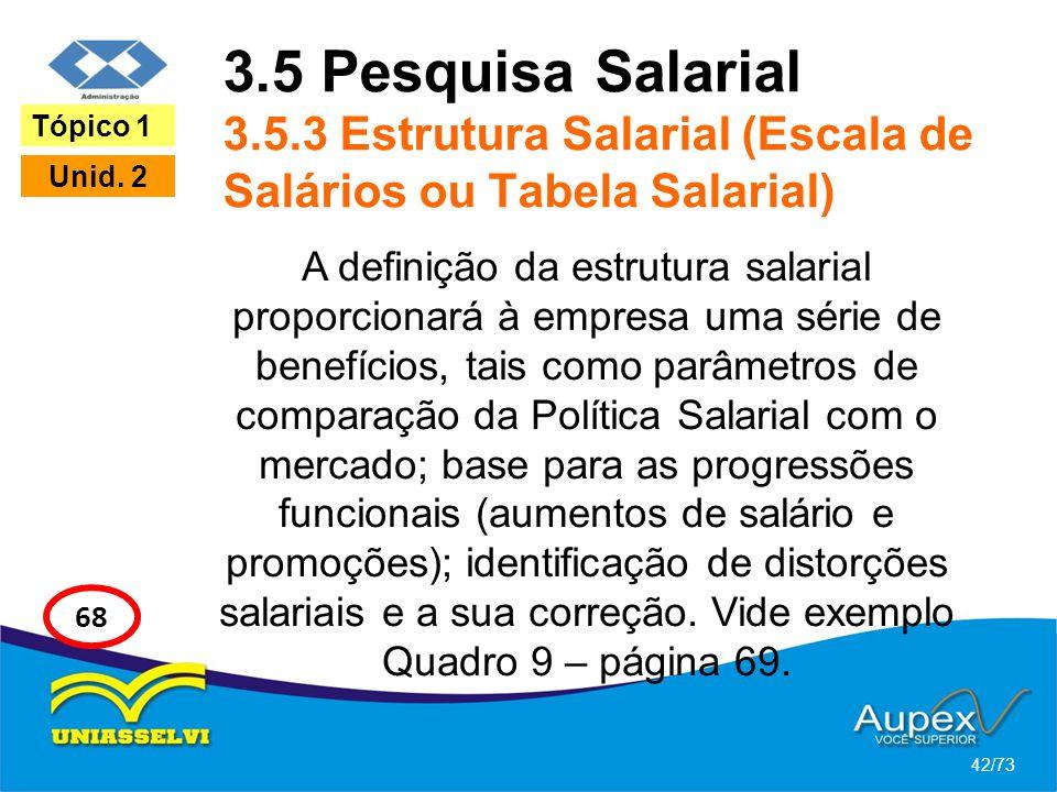 3.5 Pesquisa Salarial 3.5.3 Estrutura Salarial (Escala de Salários ou Tabela Salarial) A definição da estrutura salarial proporcionará à empresa uma s