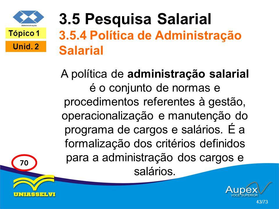 3.5 Pesquisa Salarial 3.5.4 Política de Administração Salarial A política de administração salarial é o conjunto de normas e procedimentos referentes