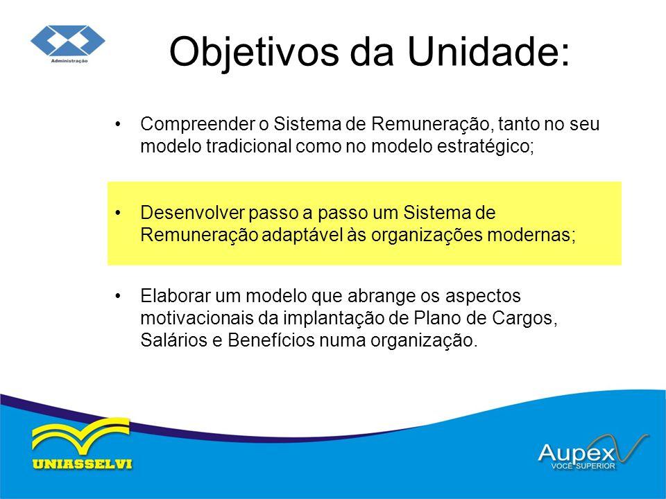 Objetivos da Unidade: Compreender o Sistema de Remuneração, tanto no seu modelo tradicional como no modelo estratégico; Desenvolver passo a passo um S