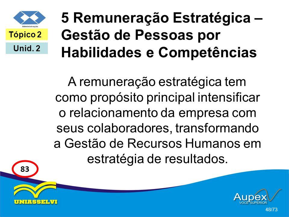 5 Remuneração Estratégica – Gestão de Pessoas por Habilidades e Competências A remuneração estratégica tem como propósito principal intensificar o rel