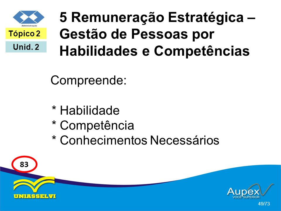 5 Remuneração Estratégica – Gestão de Pessoas por Habilidades e Competências Compreende: * Habilidade * Competência * Conhecimentos Necessários 49/73