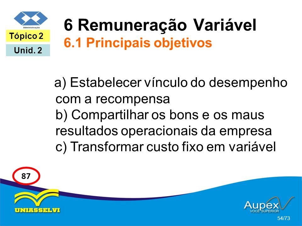 6 Remuneração Variável 6.1 Principais objetivos a) Estabelecer vínculo do desempenho com a recompensa b) Compartilhar os bons e os maus resultados ope