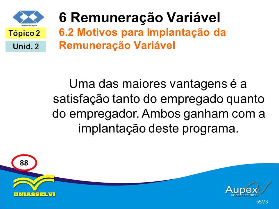 6 Remuneração Variável 6.2 Motivos para Implantação da Remuneração Variável Uma das maiores vantagens é a satisfação tanto do empregado quanto do empr