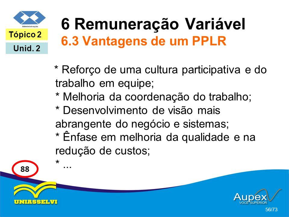 6 Remuneração Variável 6.3 Vantagens de um PPLR * Reforço de uma cultura participativa e do trabalho em equipe; * Melhoria da coordenação do trabalho;