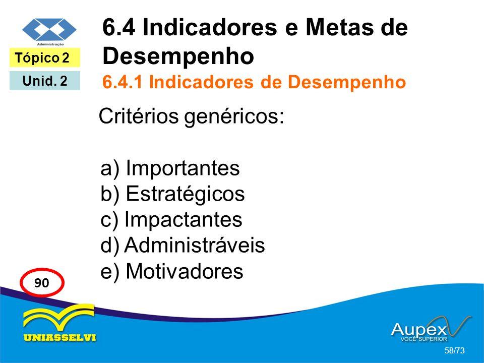 6.4 Indicadores e Metas de Desempenho 6.4.1 Indicadores de Desempenho Critérios genéricos: a) Importantes b) Estratégicos c) Impactantes d) Administrá